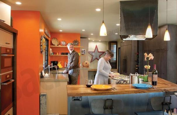 Nar Fine Carpentry Sacramento Magazine ARticle- Orange Industrial Kitchen